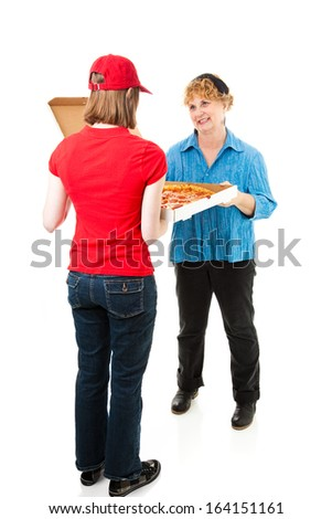 Customer gets pizza delivered.  Full body isolated on white.   - stock photo