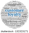 Customer loyalty concept in word tag cloud on white - stock vector