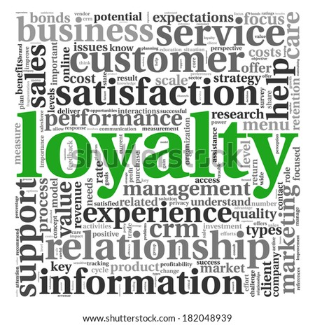 Customer loyalty concept in word tag cloud on white - stock photo