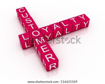 Customer loyalty crossword on white background, 3D rendered illustration - stock photo
