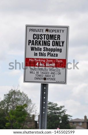 Customer parking only sign - stock photo