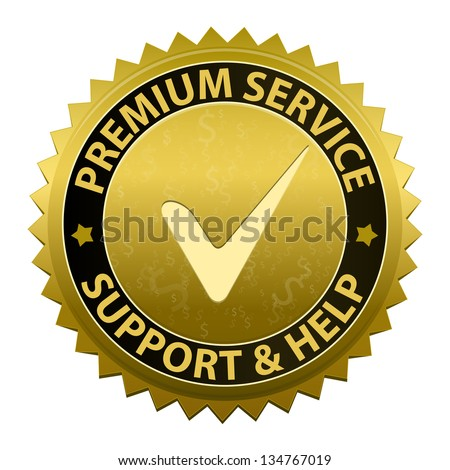 Customer premium service and support icon or symbol isolated on white background - stock photo