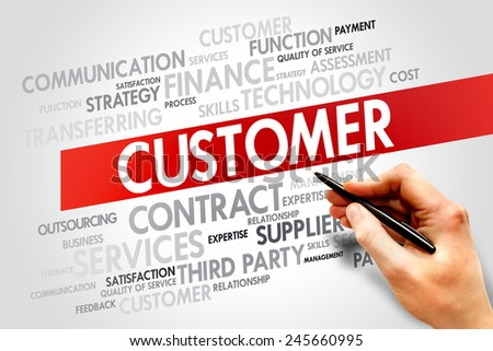 Customer related items words cloud, business concept - stock photo