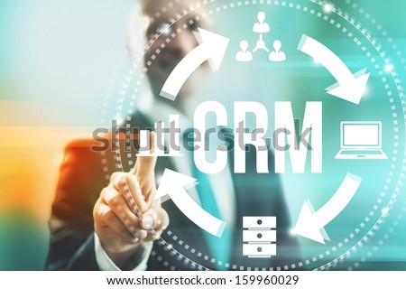 Customer relationship management concept man selecting CRM - stock photo