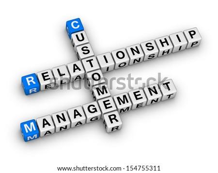 customer relationship management (CRM) crossword puzzle - stock photo