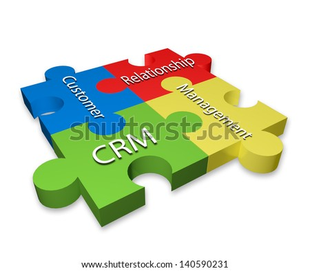 Customer Relationship Management (CRM) puzzle diagram - stock photo