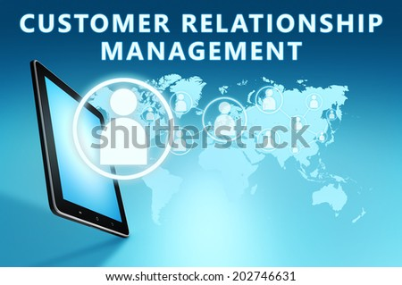 Customer Relationship Management illustration with tablet computer on blue background - stock photo