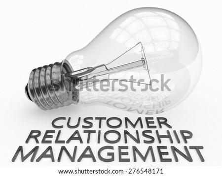 Customer Relationship Management - lightbulb on white background with text under it. 3d render illustration. - stock photo