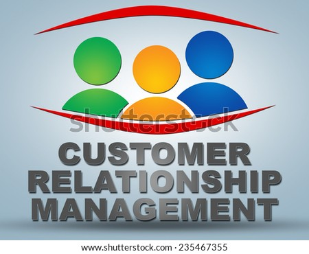 Customer Relationship Management text illustration concept on grey background with group of people icons - stock photo