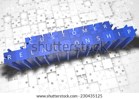 Customer Relationship - puzzle 3d render illustration with block letters on blue jigsaw pieces