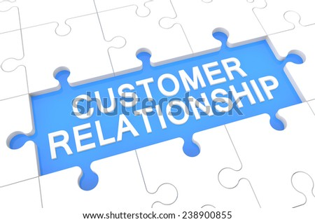 Customer Relationship - puzzle 3d render illustration with word on blue background - stock photo