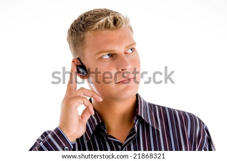 customer representative wearing headset on an isolated white background - stock photo