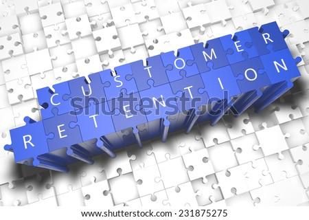 Customer Retention - puzzle 3d render illustration with block letters on blue jigsaw pieces  - stock photo