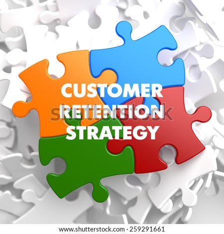 Customer Retention Strategy Plenty White and Colored Puzzle Pieces with  Texts. Commonly Used in Business Sales. - stock photo