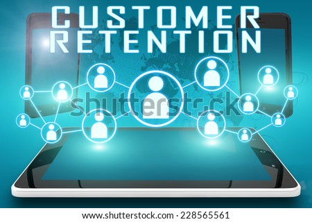 Customer Retention - text illustration with social icons and tablet computer and mobile cellphones on cyan digital world map background - stock photo