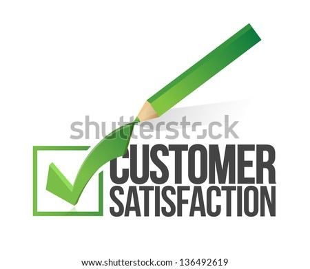 customer satisfaction checkmark and pencil illustration design over a white background - stock photo