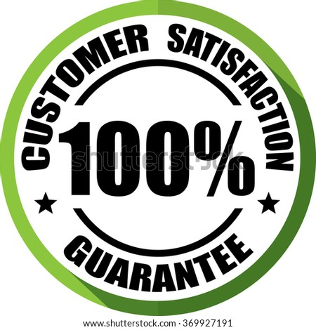Customer Satisfaction guarantee green, Button, label and sign. - stock photo