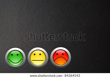 customer satisfaction survey concept with smilie and button - stock photo
