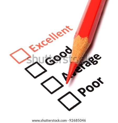 customer satisfaction survey form with checkbox showing marketing concept - stock photo