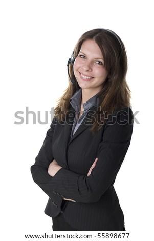 Customer service agent with headphone - stock photo