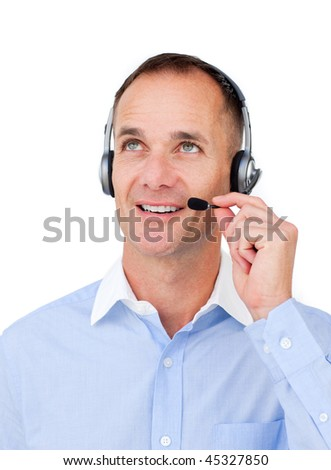 Customer service agent with headset on looking upward against a white background - stock photo