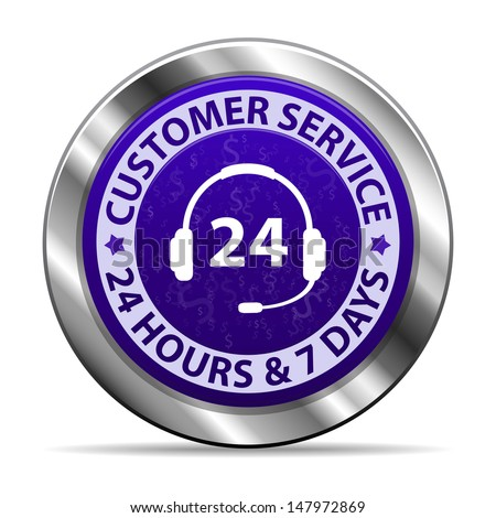 Customer service and support around the clock 24 hours a day & 7 days a week metal icon isolated on white background. Illustration - stock photo