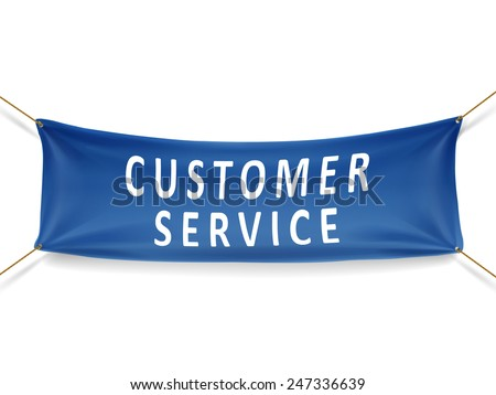 customer service banner isolated over white background - stock photo