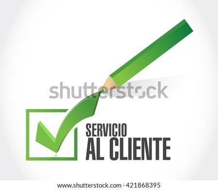 Customer service checkmark sign in Spanish illustration design graphic - stock photo