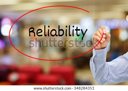 customer service concept.businessman writing service reliability On Screen - stock photo
