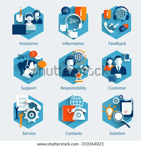 Customer service concept set with assistance information feedback decorative icons isolated  illustration - stock photo