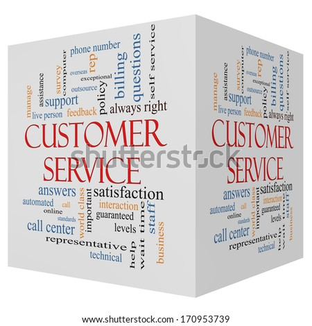 Customer Service 3D cube Word Cloud Concept with great terms such as call center, help, staff, rep and more. - stock photo