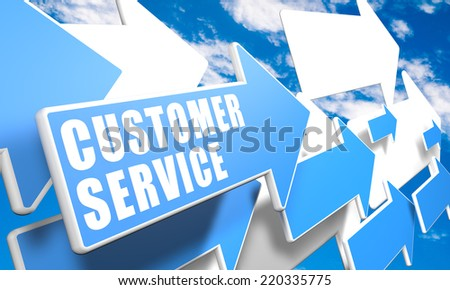 Customer Service 3d render concept with blue and white arrows flying in a blue sky with clouds - stock photo