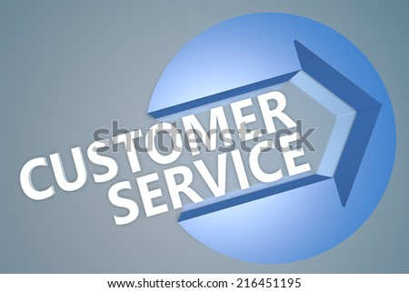 Customer Service - 3d text render illustration concept with a arrow in a circle on blue-grey background - stock photo