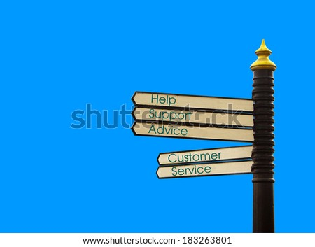 customer service direction sign post - stock photo