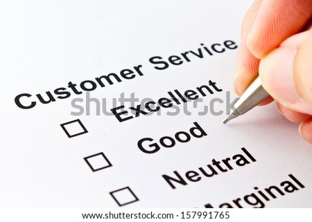 customer service evaluation isolated over white background - stock photo