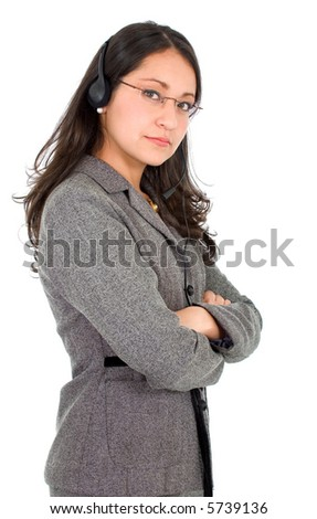 customer service girl wearing a headset - isolated over a white background - stock photo