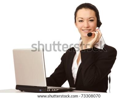 Customer service girl working - stock photo