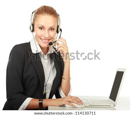 Customer service girl working isolated on white background - stock photo