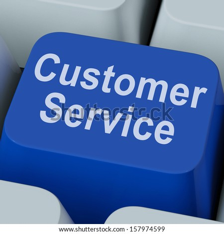 Customer Service Key Showing Online Consumer Support - stock photo