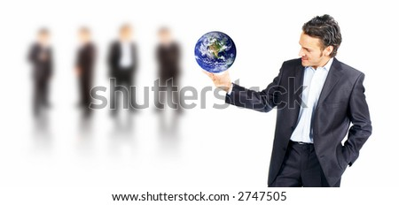 customer service man with his team in the background - stock photo
