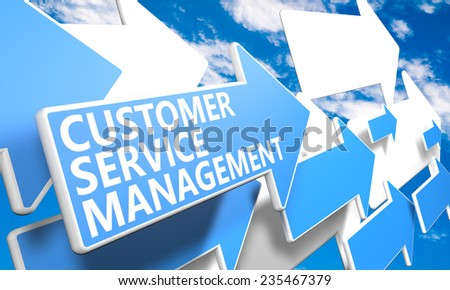 Customer Service Management 3d render concept with blue and white arrows flying in a blue sky with clouds - stock photo