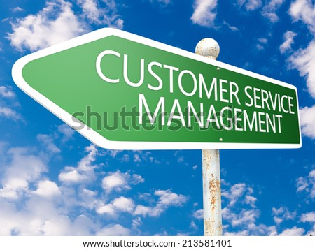 Customer Service Management - street sign illustration in front of blue sky with clouds. - stock photo