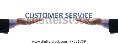 Customer service message in male hands - stock photo