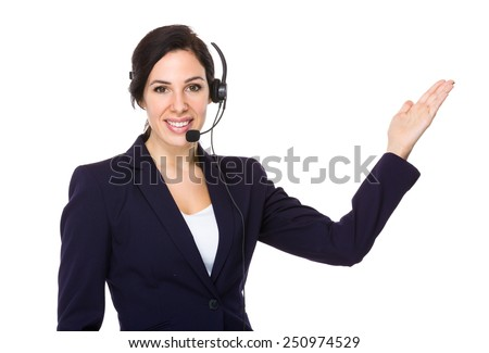 Customer service officer with open hand palm - stock photo