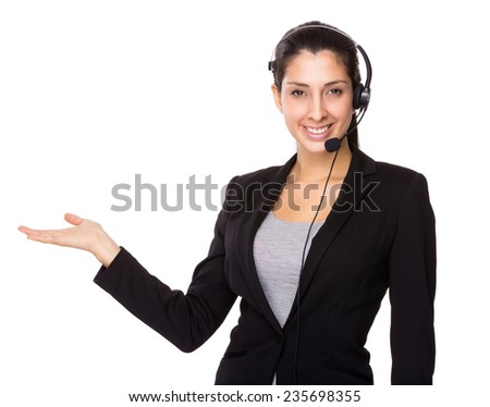 Customer service operator with open hand palm - stock photo