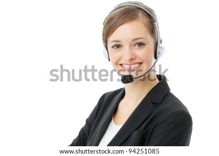 Customer service operator woman with headset, isolated on white background. - stock photo