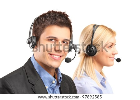 Customer service operators isolated on white background - stock photo