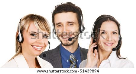 Customer service operators, white background - stock photo