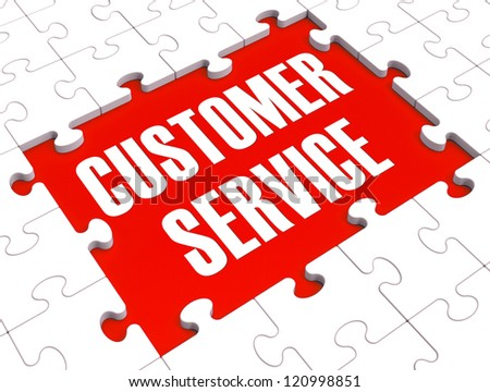 Customer Service Puzzle Showing Support, Assistance And Help - stock photo