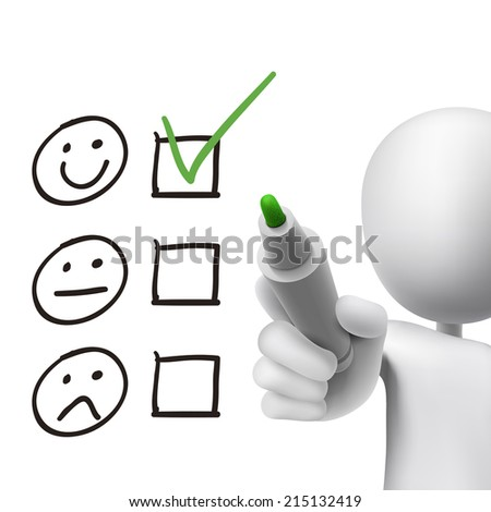 customer service questionnaire drawn by 3d man over white  - stock photo